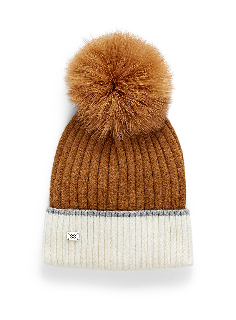 Soia & Kyo Honey Removable pompom ribbed tuque for women