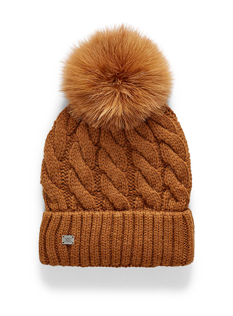 Soia & Kyo Medium Brown Twisted cable wool tuque for women