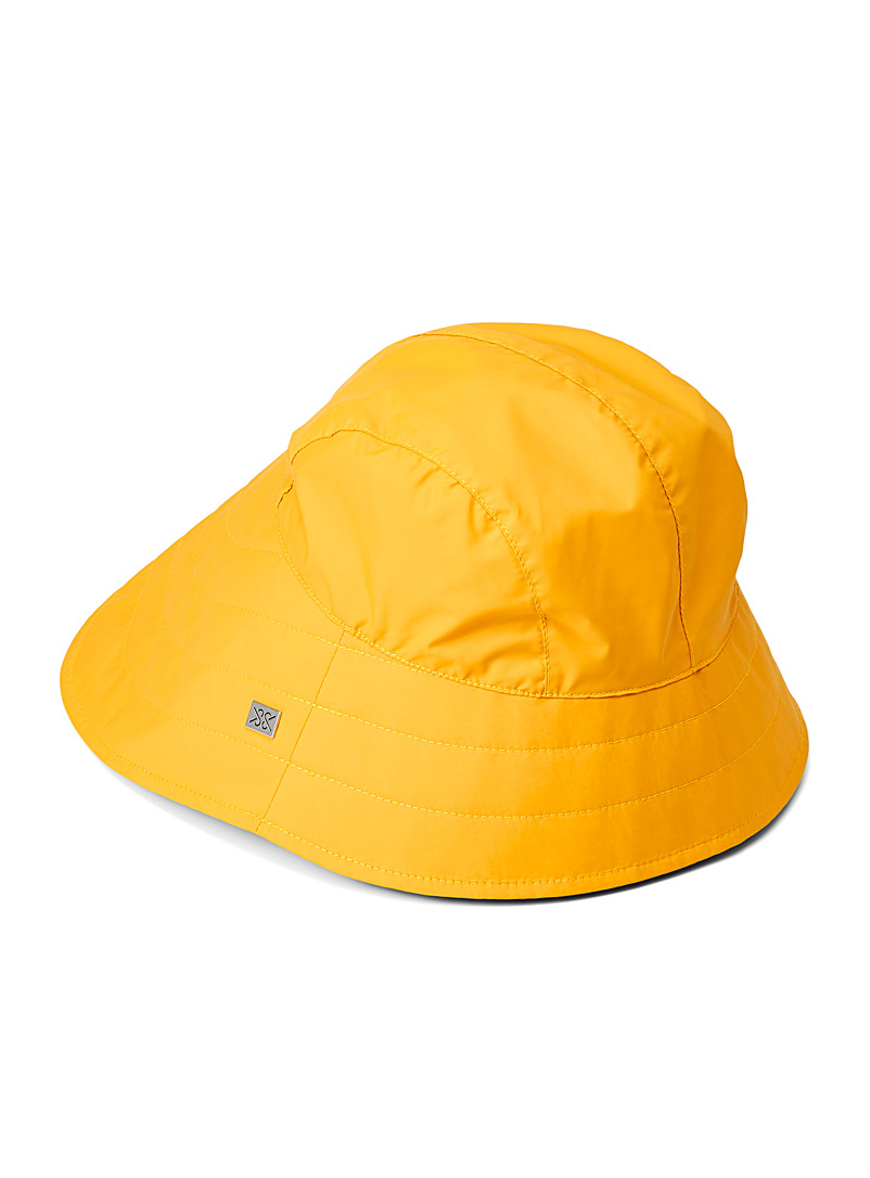 Soia & Kyo Yellow  Ambre asymmetric trim bucket hat for women