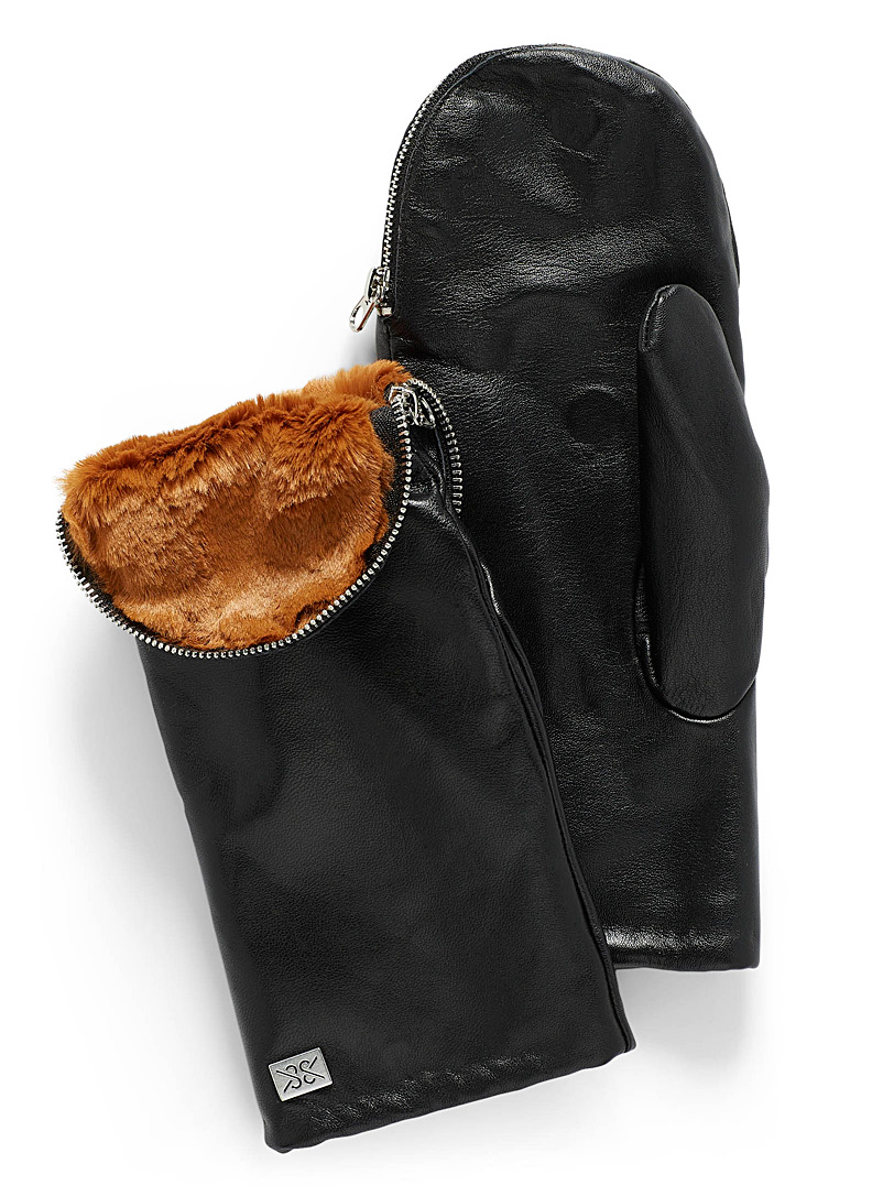Soia & Kyo Black Betrice zipped leather mittens for women