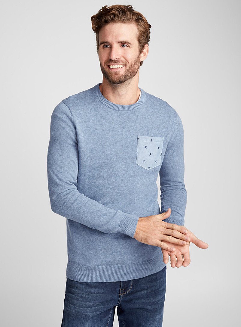 Patterned pocket sweater - Cotton - Sapphire Blue