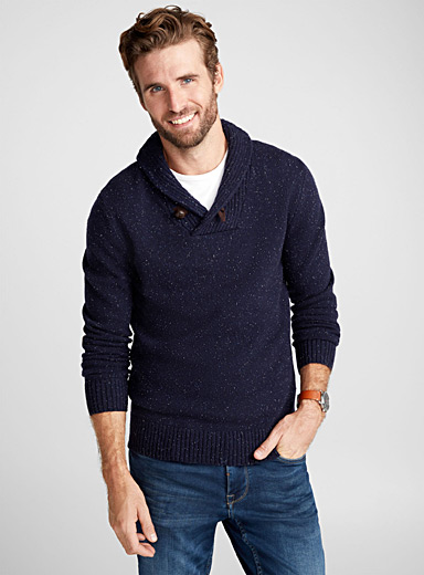 Shawl collar lambswool sweater