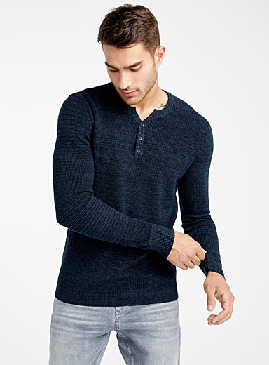 Le 31 Sapphire Blue Waffle-knit sweater for men