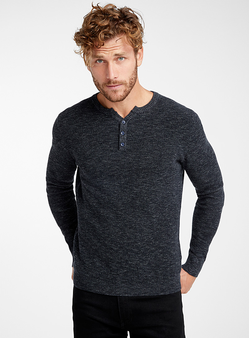 Le 31 Black Waffle-knit sweater for men