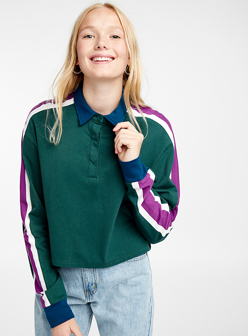 Accent-stripe polo - Long Sleeves - Kelly Green