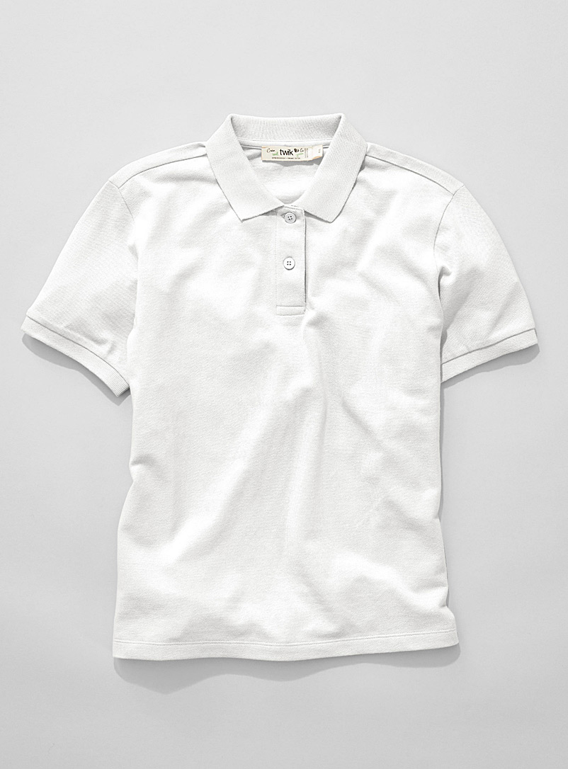 Twik White Organic cotton loose solid polo for women