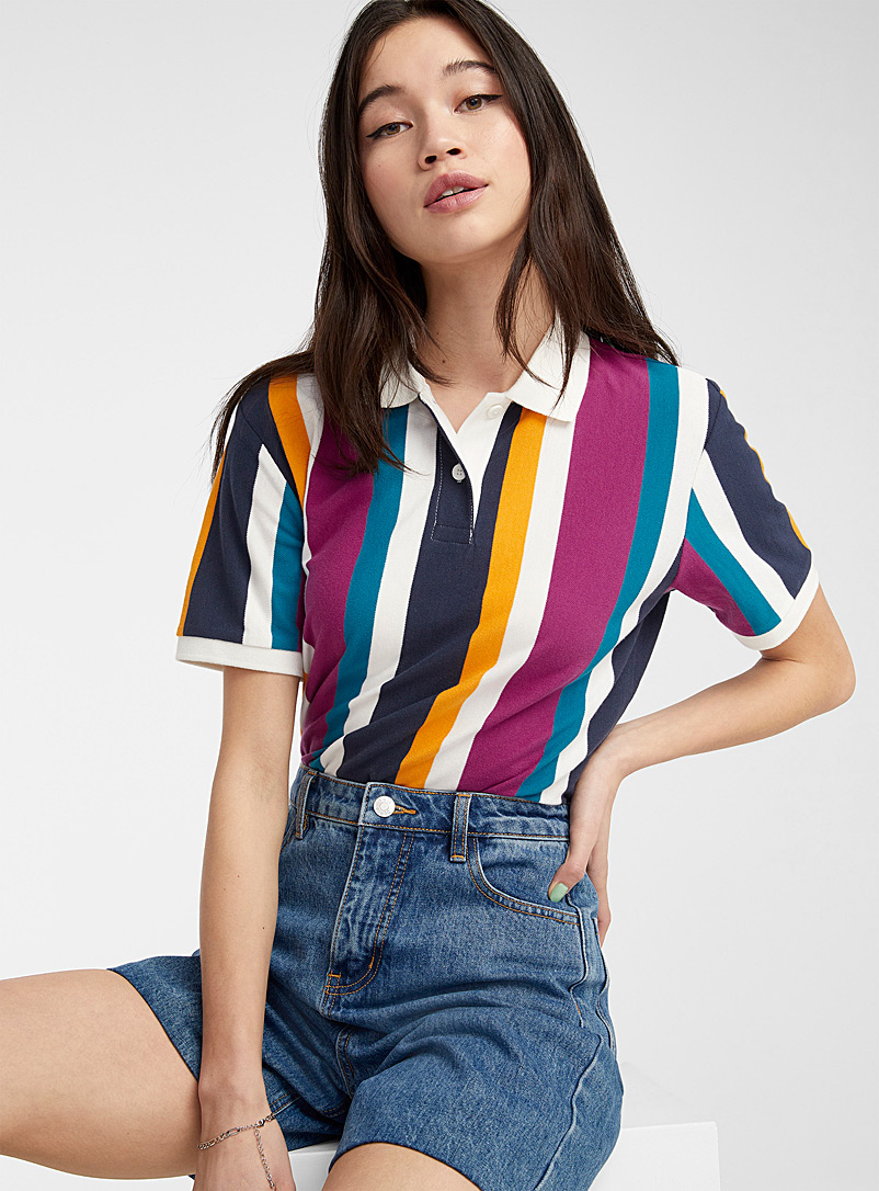 Twik Patterned White Organic cotton loose coloured polo for women
