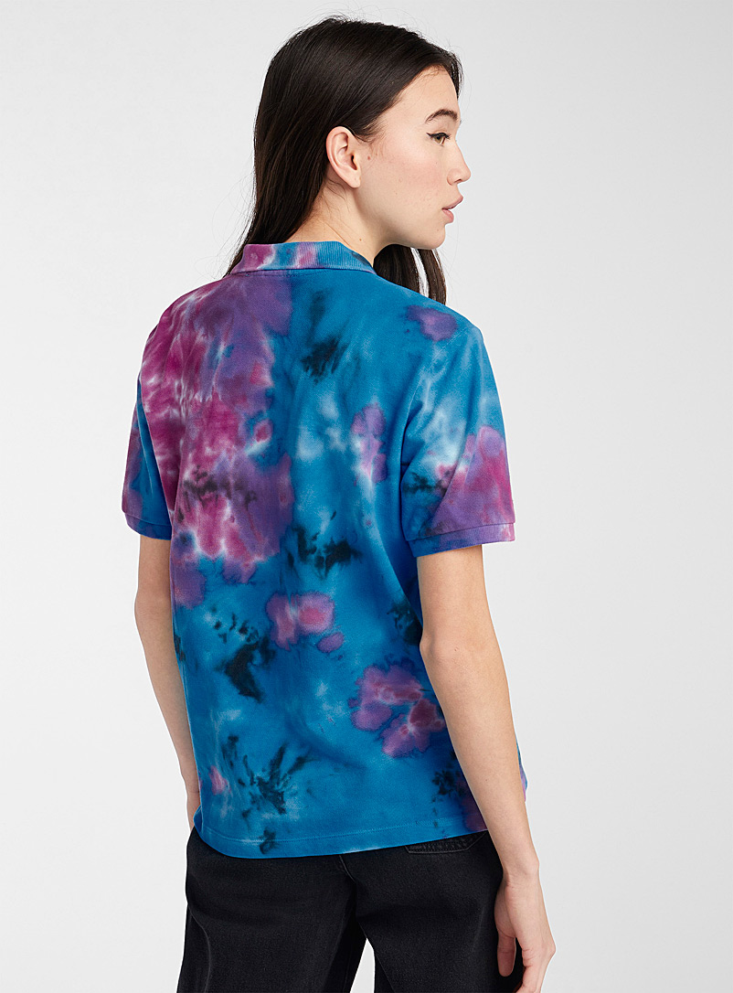 Twik Patterned blue Loose colourful organic cotton polo for women