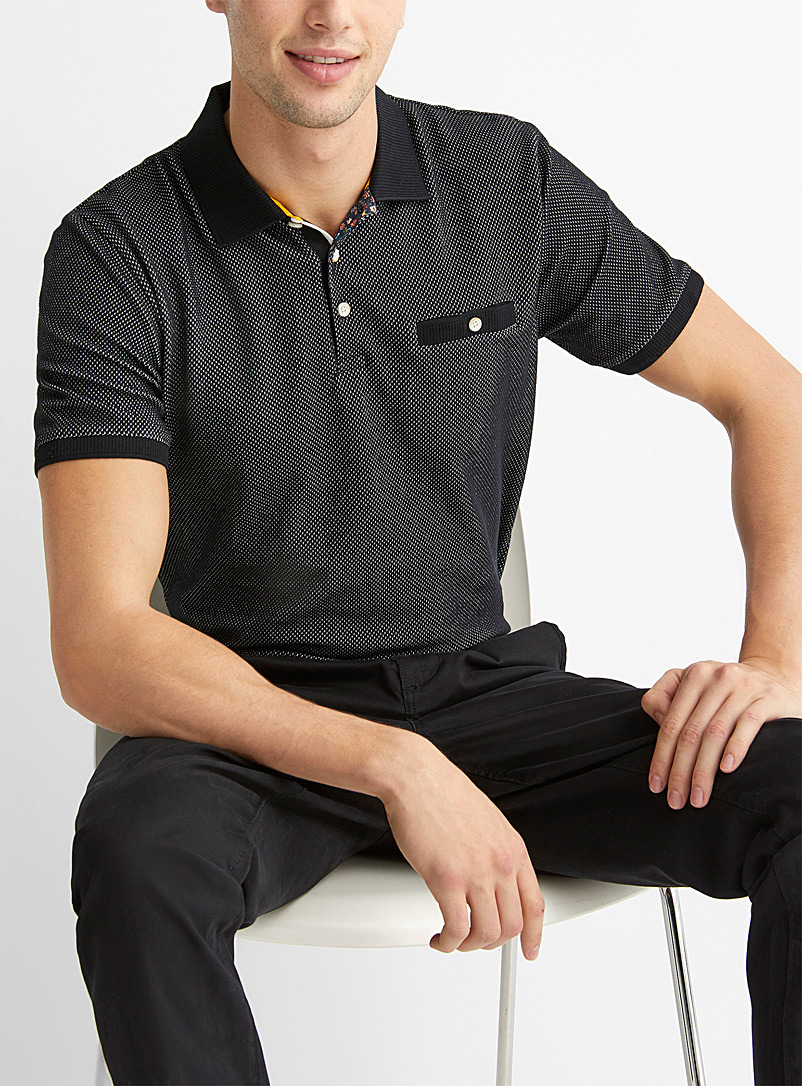 Le 31 Black Two-tone piqué jacquard polo for men