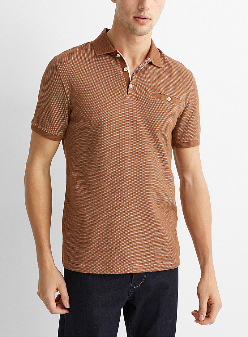 Le 31 Brown Two-tone piqué jacquard polo for men