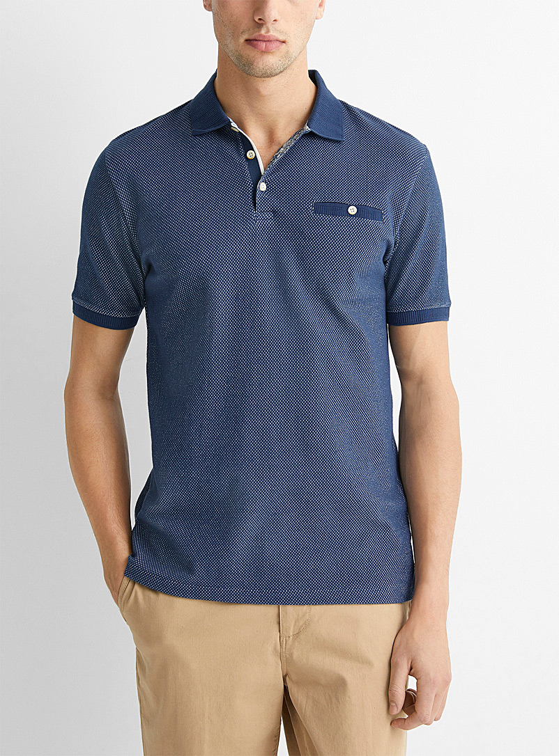 Le 31 Marine Blue Two-tone piqué jacquard polo for men