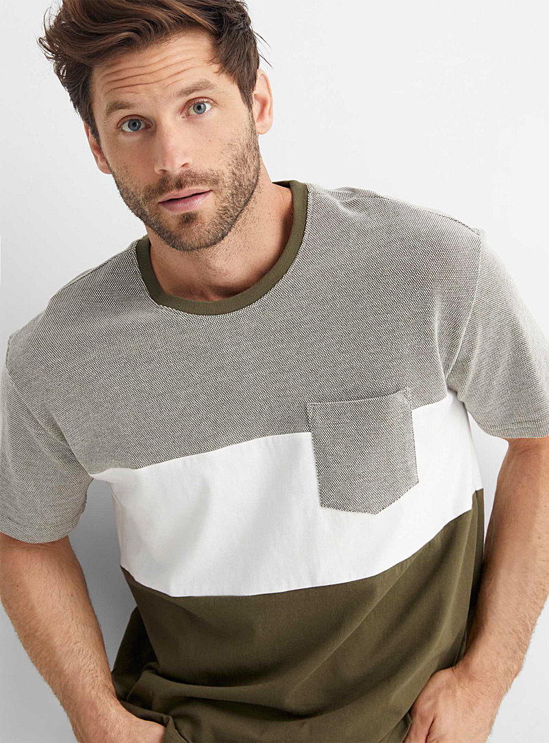 Le 31 Grey Contrast piqué block T-shirt for men