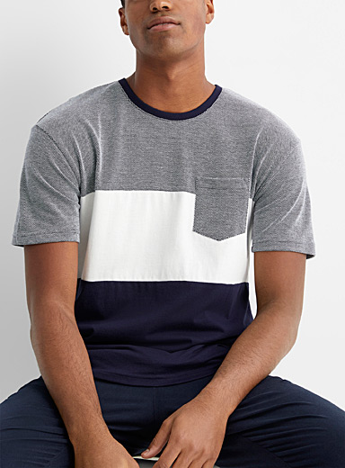 Le 31 Marine Blue Contrast piqué block T-shirt for men