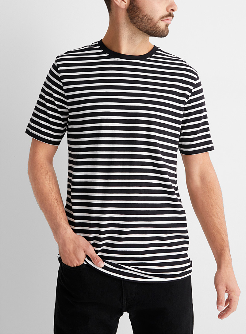 Le 31 Black Twin-stripe T-shirt for men