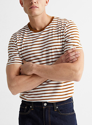 Le 31 Brown Twin-stripe T-shirt for men