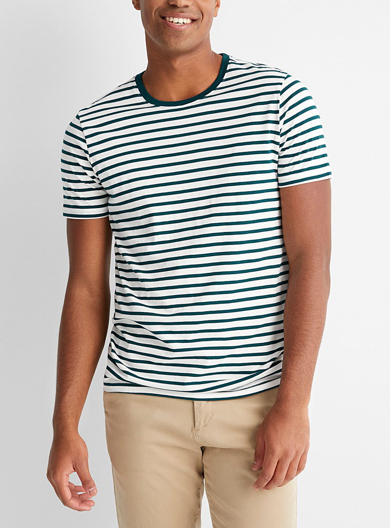 Le 31 Green Twin-stripe T-shirt for men