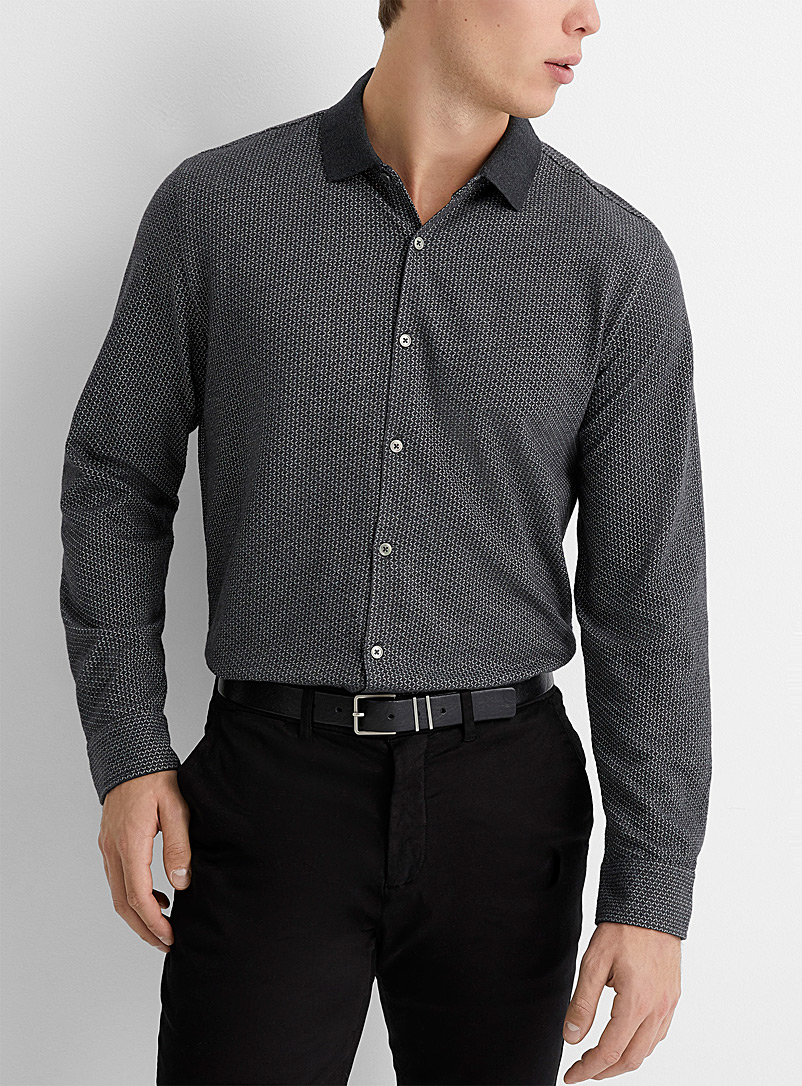 Le 31 Grey Optical jacquard knit shirt  Modern fit for men