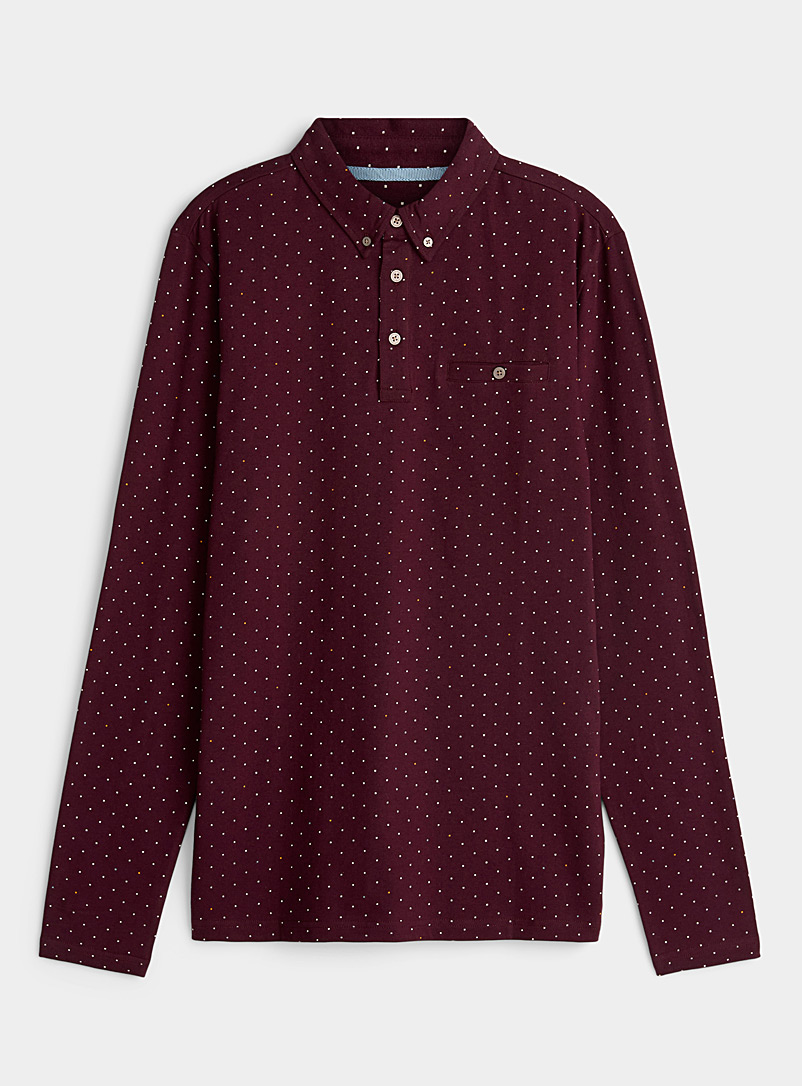 Le 31 Ruby Red Small optical pattern polo for men