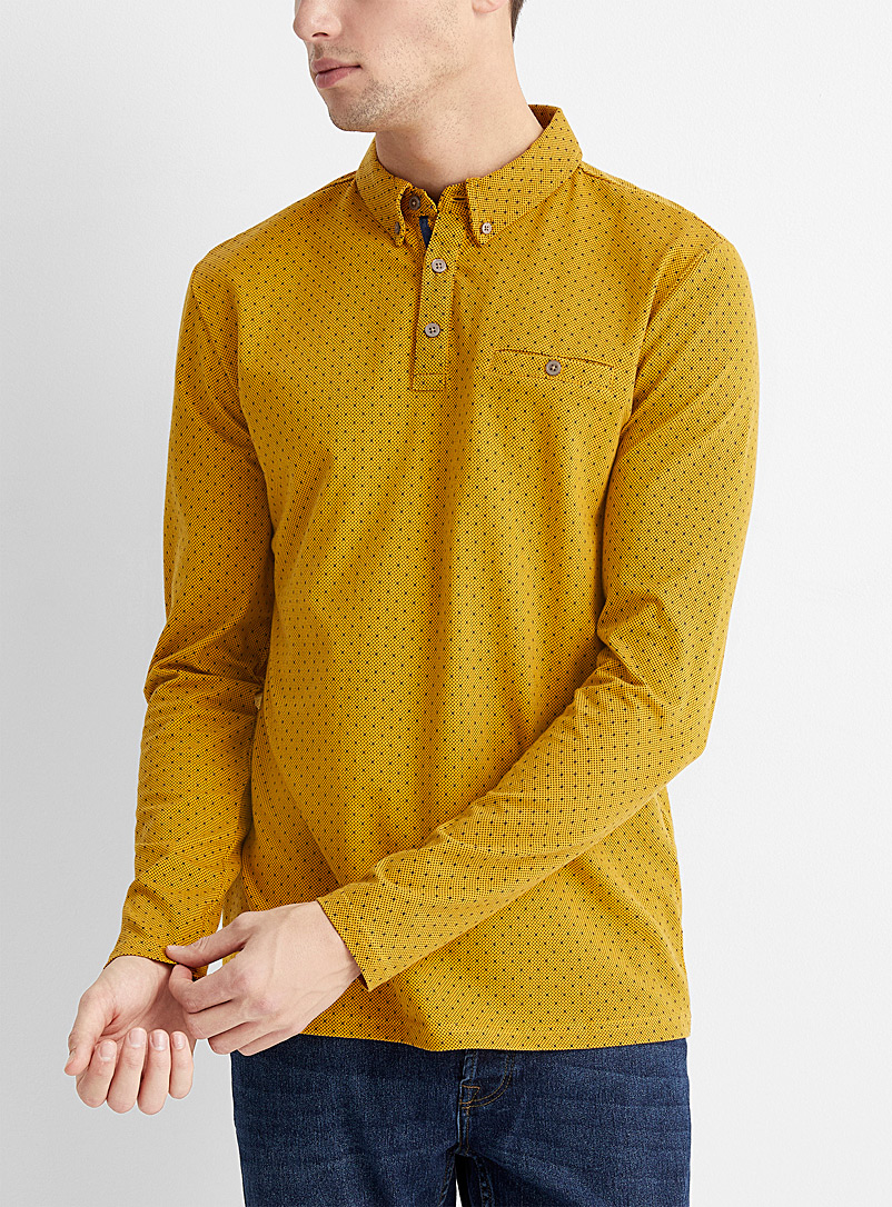 Le 31 Golden Yellow Small optical pattern polo for men