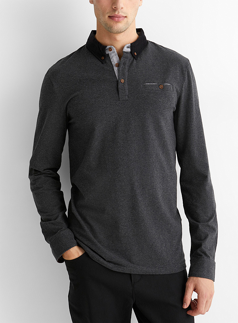 Le 31 Charcoal Corduroy-collar polo for men