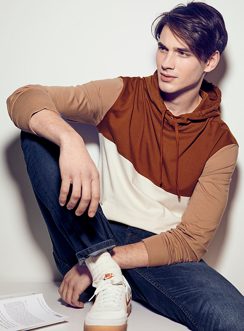 Le 31 Brown Colour block hooded T-shirt for men