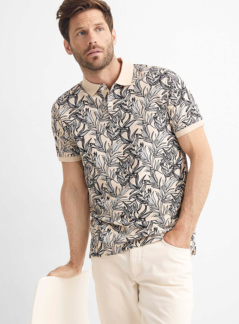 Le 31 Pink Piqué botanical polo for men