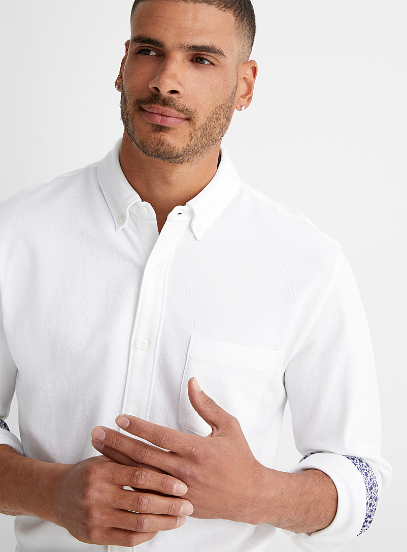 Le 31 White Liberty accent knit shirt Modern fit for men