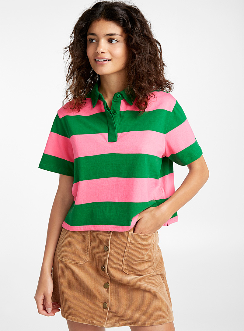 Striped canvas polo - Short Sleeves & ¾ Sleeves - Patterned Green