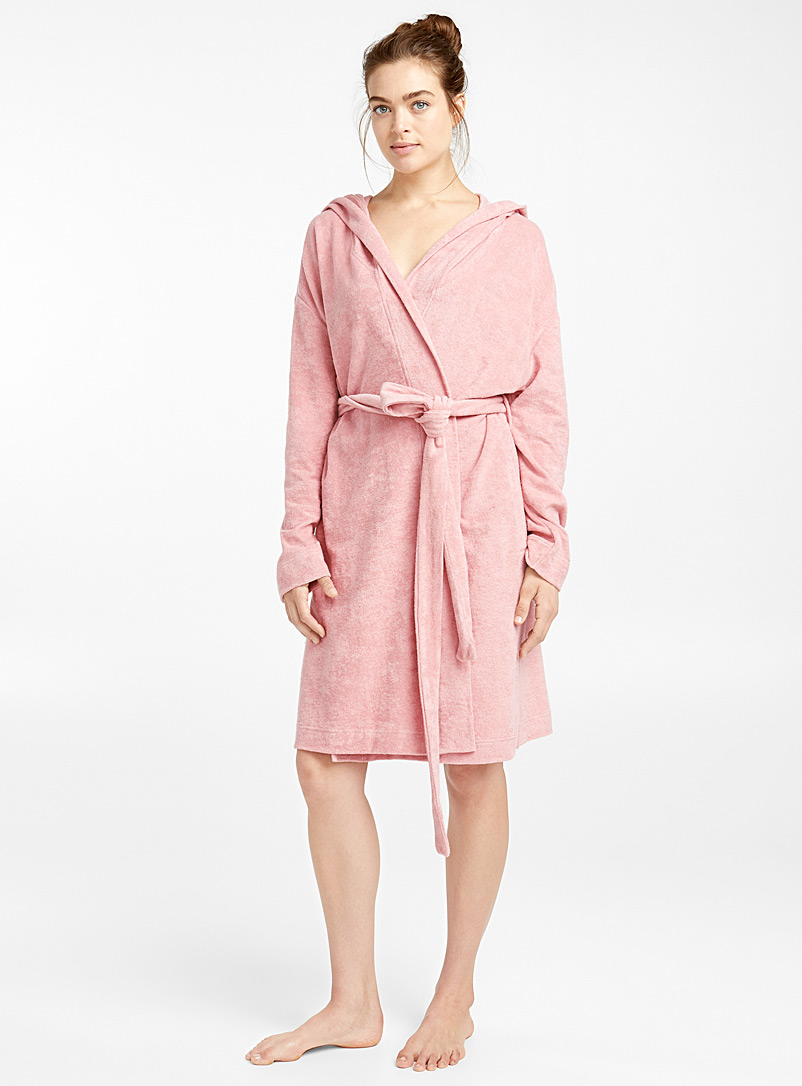 Short organic cotton robe - Bathrobes - Pink