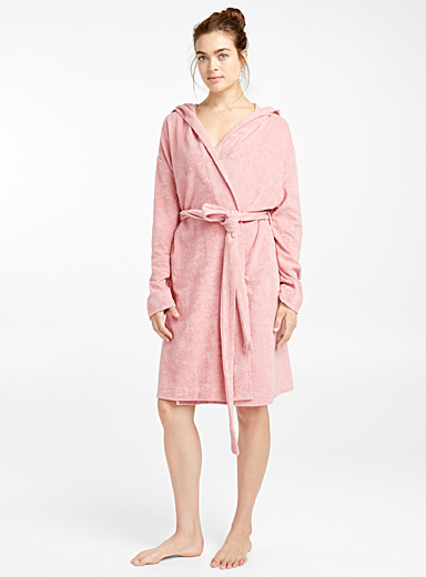Short organic cotton robe