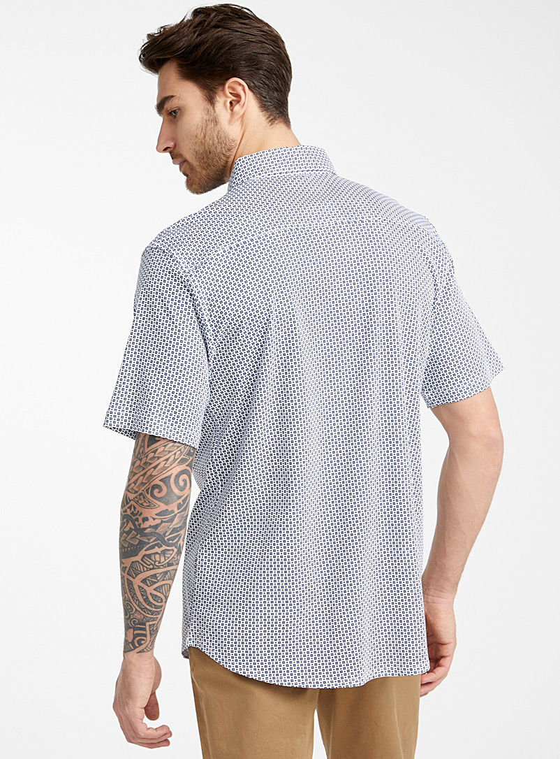 Le 31 Baby Blue Mosaic jersey shirt Modern fit for men