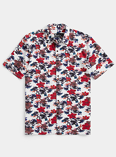 Le 31 Patterned White Brightly coloured organic cotton shirt  Modern fit for men