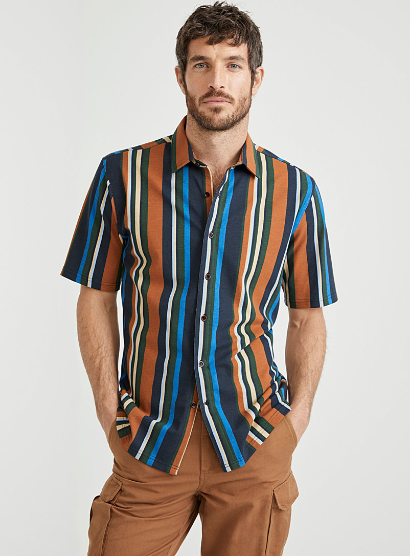 Le 31 Blue Brightly coloured organic cotton shirt  Modern fit for men