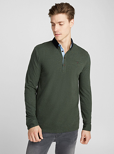 Corduroy-collar polo
