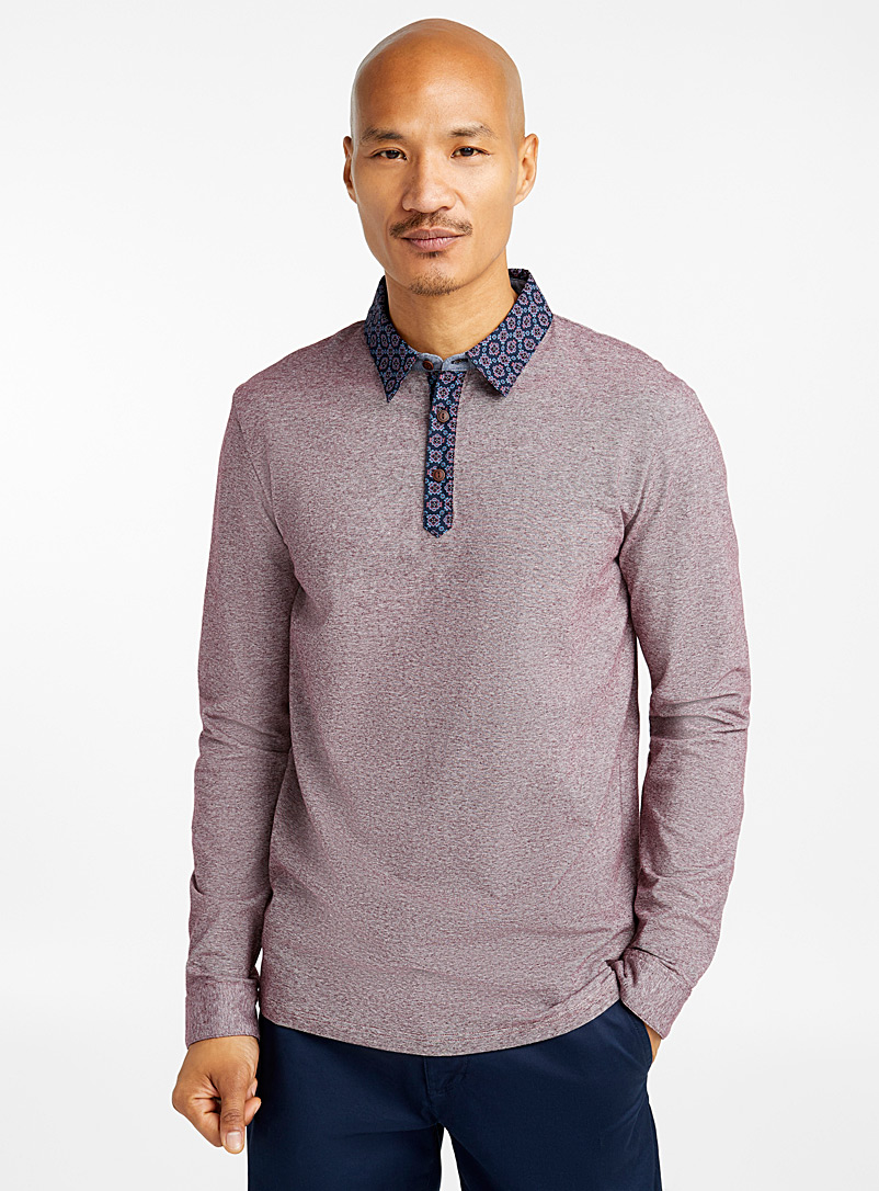 Geo patterned poplin-collar polo - Polos - Mauve