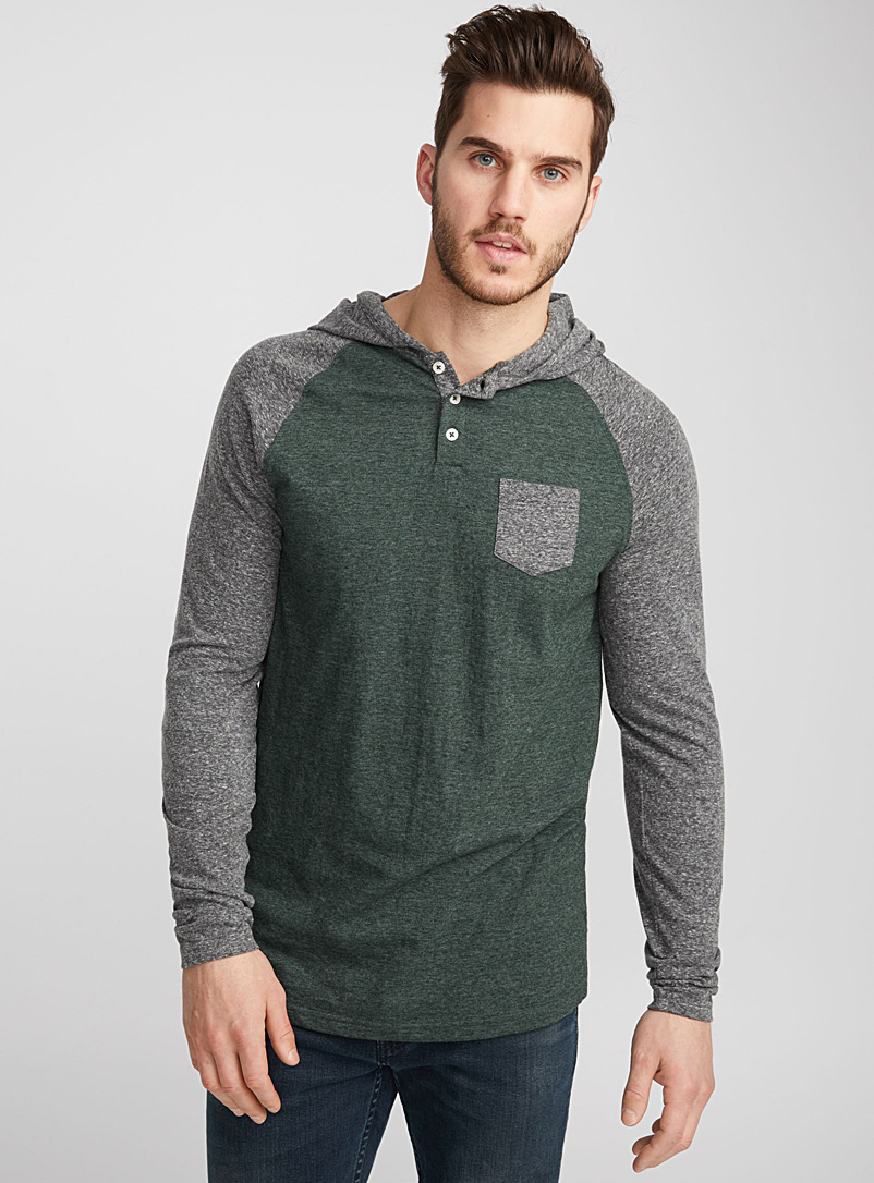 Hooded baseball T-shirt - Henleys - Mossy Green