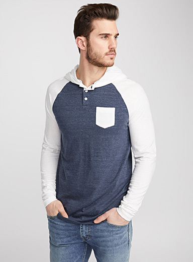 Hooded baseball T-shirt