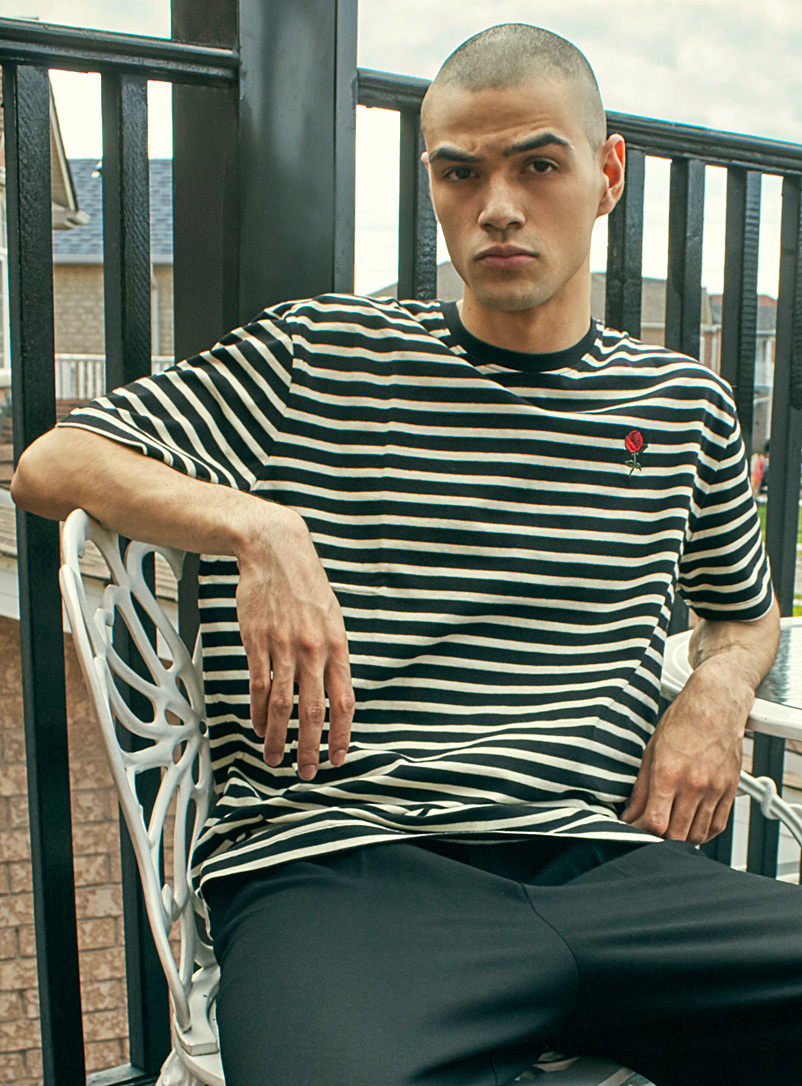 Djab Black Multi-stripe T-shirt for men