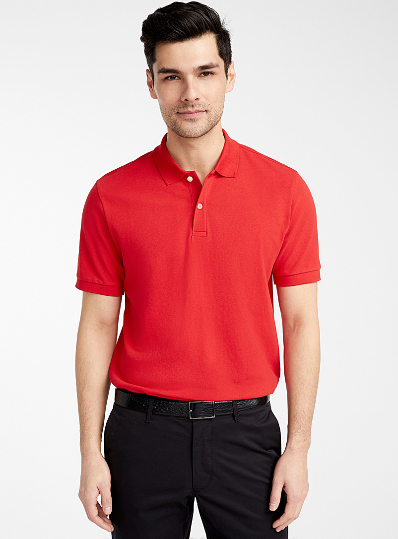 Le 31 Red Stretch piqué organic cotton polo for men