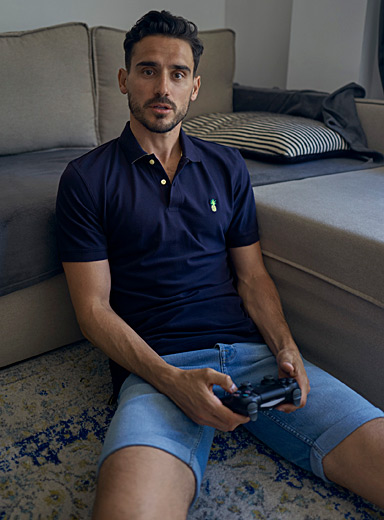 Le 31 Marine Blue Fun embroidery piqué polo for men