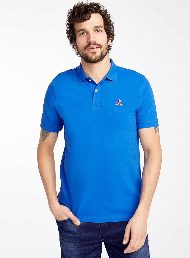 Le 31 Sapphire Blue Fun embroidery piqué polo for men