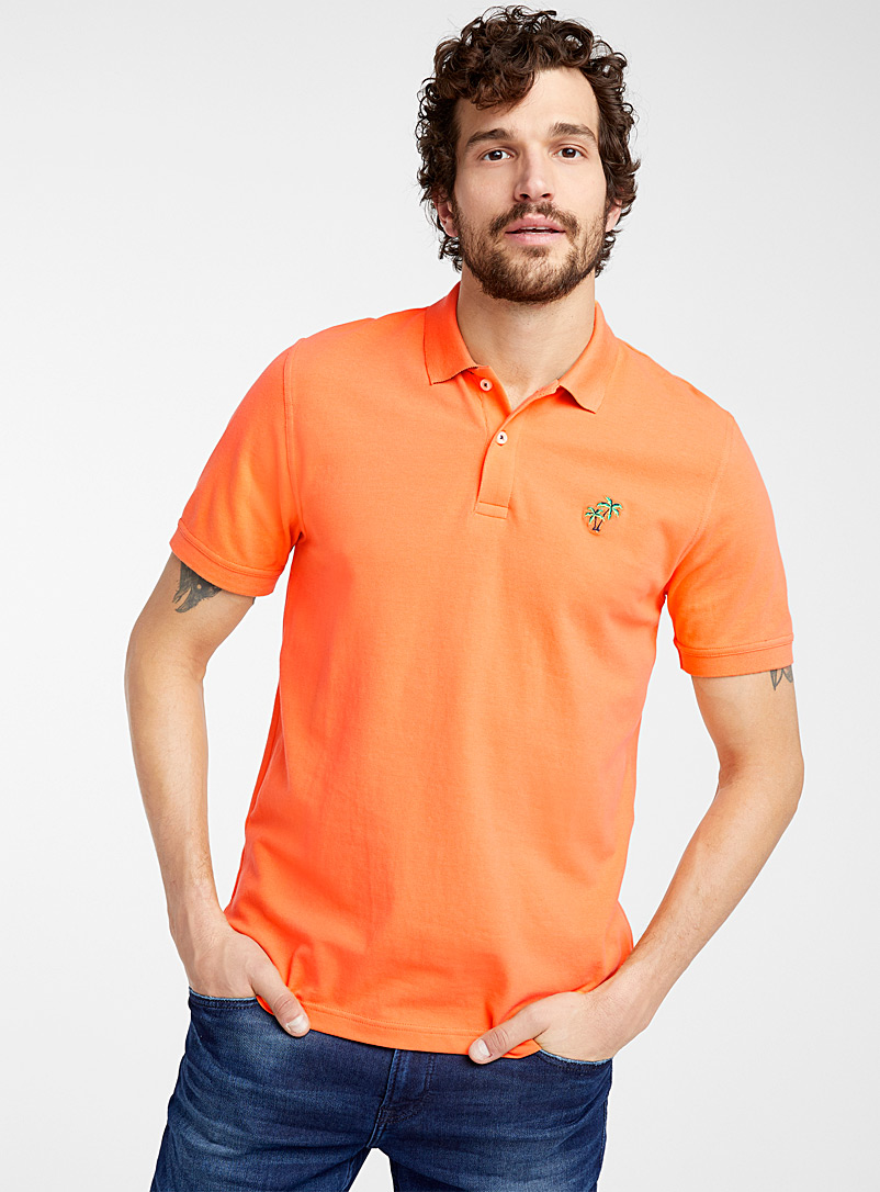 Le 31 Orange Fun embroidery piqué polo for men