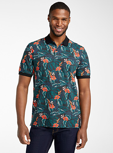 Le 31 Black All-over print organic cotton polo for men