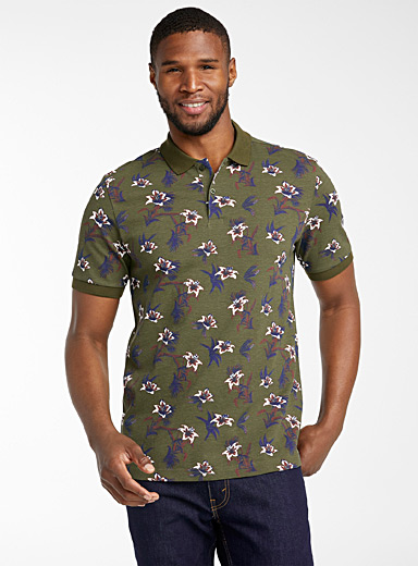 Le 31 Mossy Green All-over print organic cotton polo for men