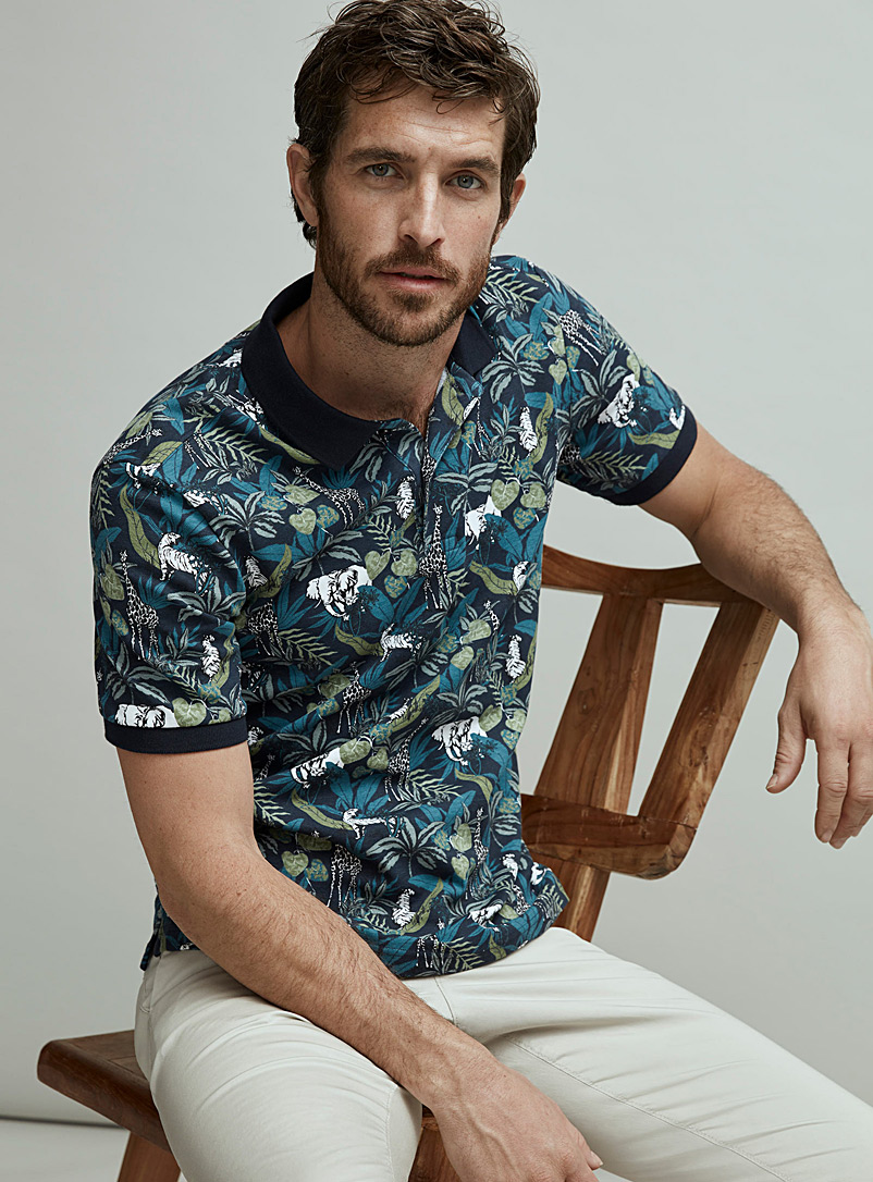 Le 31 Dark Blue All-over print organic cotton polo for men