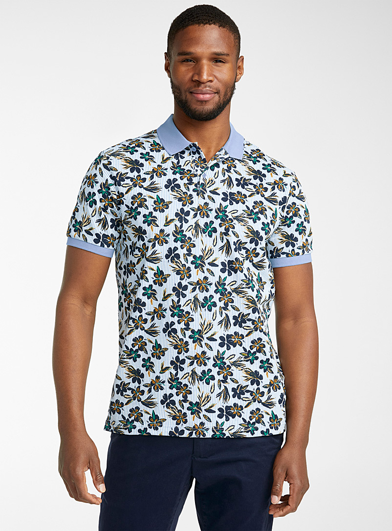Le 31 Baby Blue All-over print organic cotton polo for men
