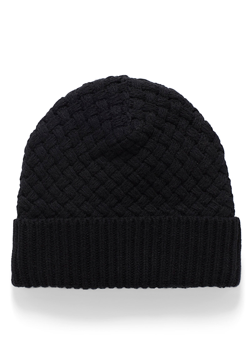 Simons Black Fleece-lined braided knit tuque for women