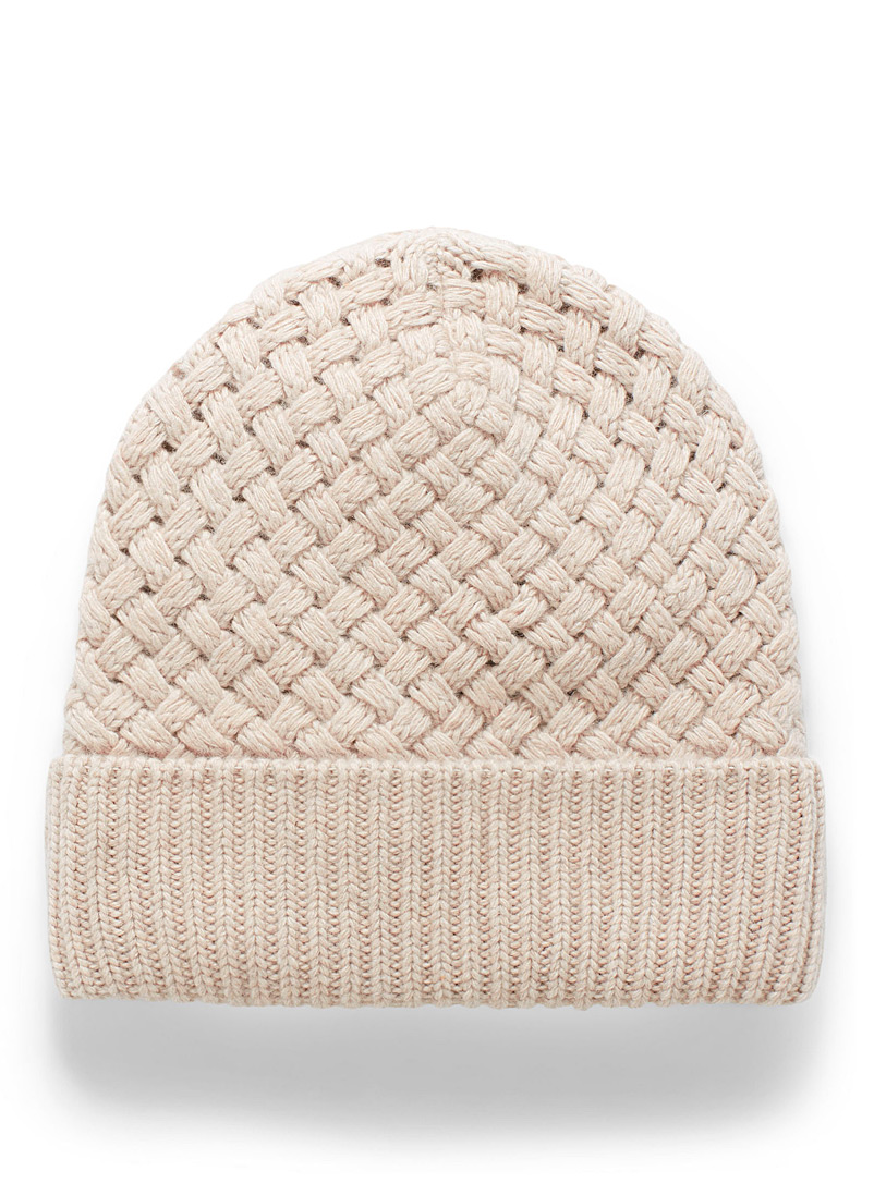 Simons Pink  Fleece-lined braided knit tuque for women