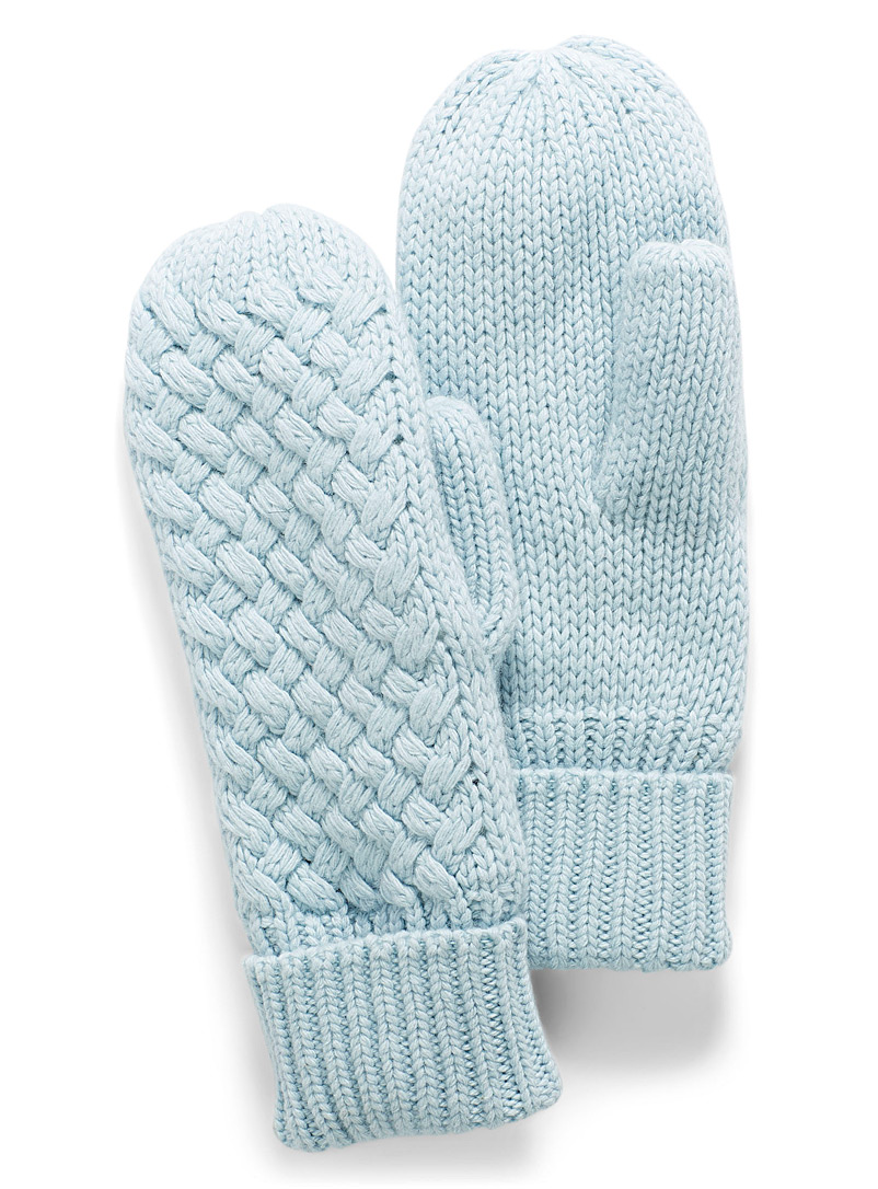 Simons Baby Blue Braided knit mittens for women