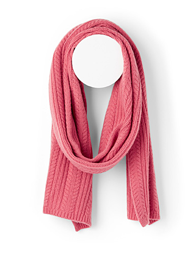 Simons Dusky Pink Pure wool cable knit scarf for women
